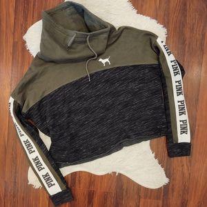 PINK VS Cropped Cowl Neck Logo Stripe Sweatshirt
